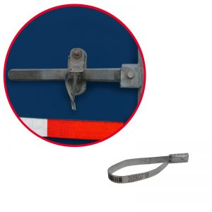 Sello metálico Flat Seal con foliado y códigos de barras